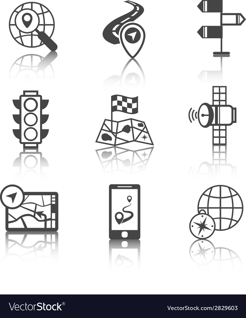 Mobile navigation icons black and white vector | Price: 1 Credit (USD $1)