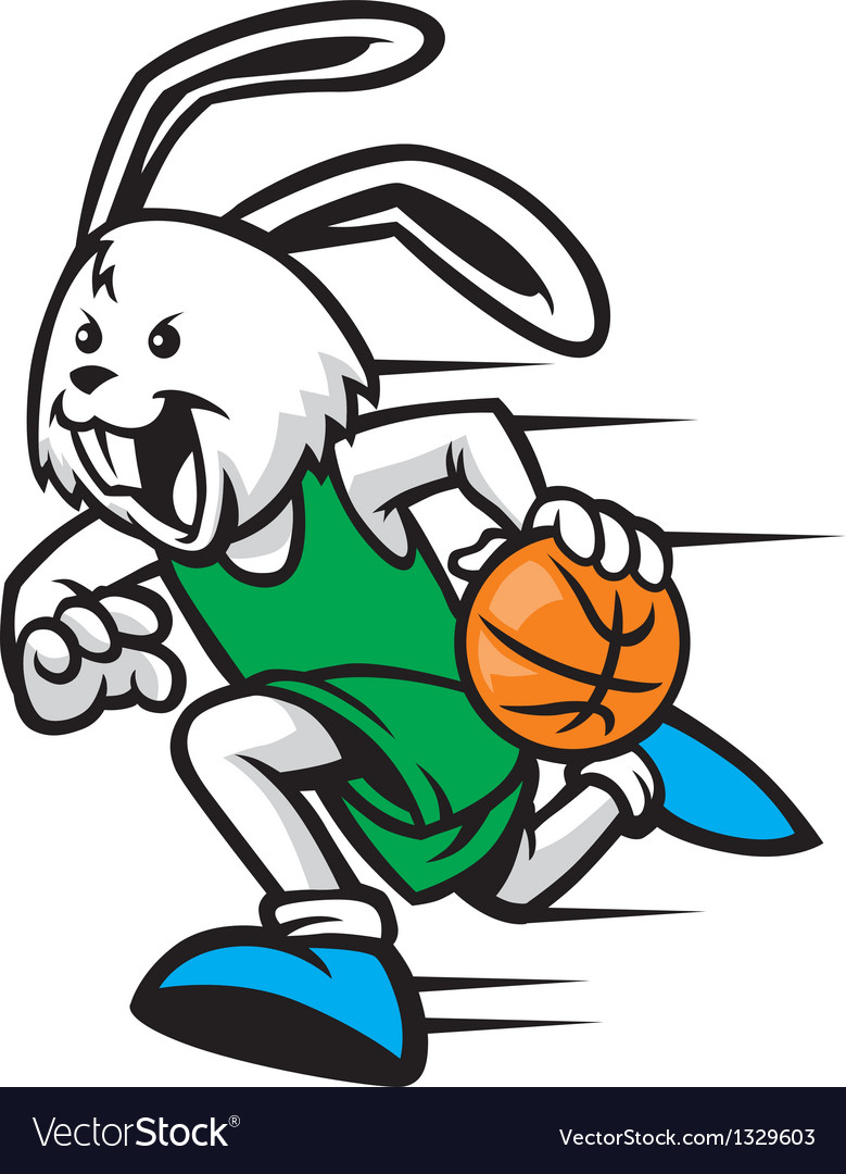 Rabbit play basketball vector | Price: 3 Credit (USD $3)