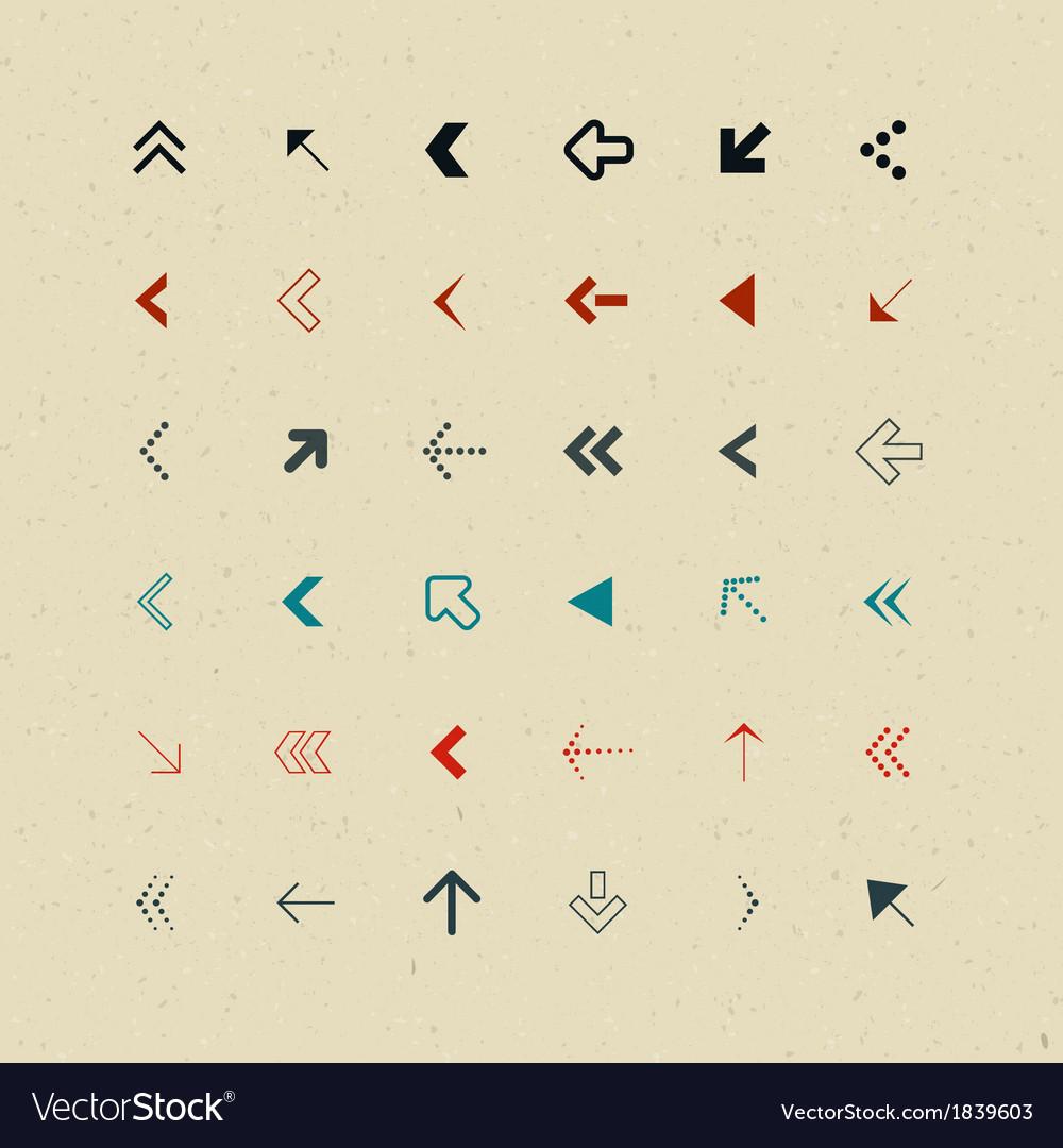 Retro arrows set vector | Price: 1 Credit (USD $1)