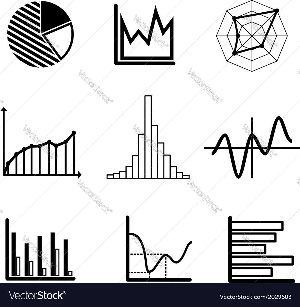 Set of graphs and charts vector | Price: 1 Credit (USD $1)