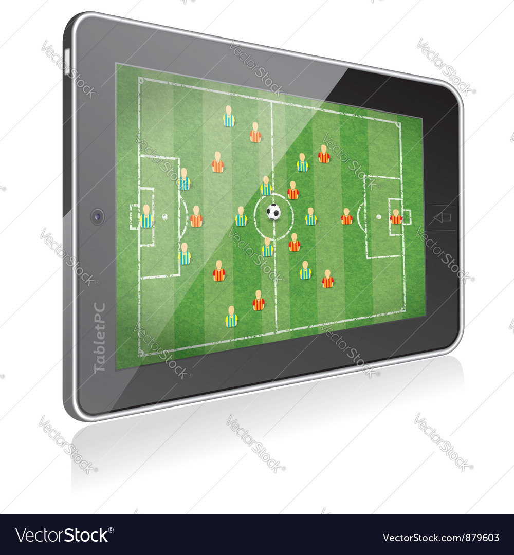 Tablet pc with football game vector | Price: 3 Credit (USD $3)