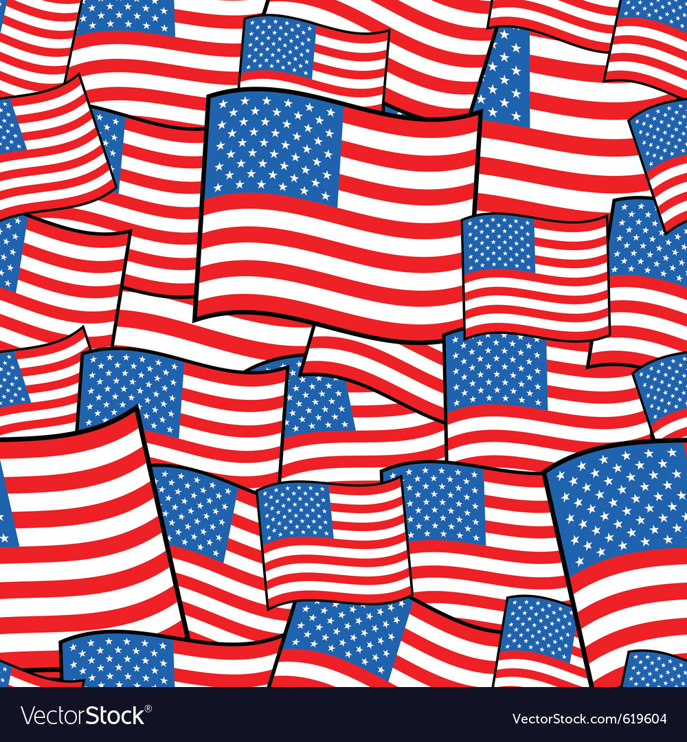 American flags vector | Price: 1 Credit (USD $1)