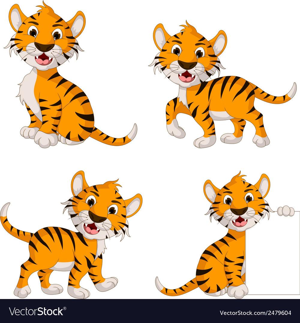 Cute tiger cartoon collection vector | Price: 1 Credit (USD $1)