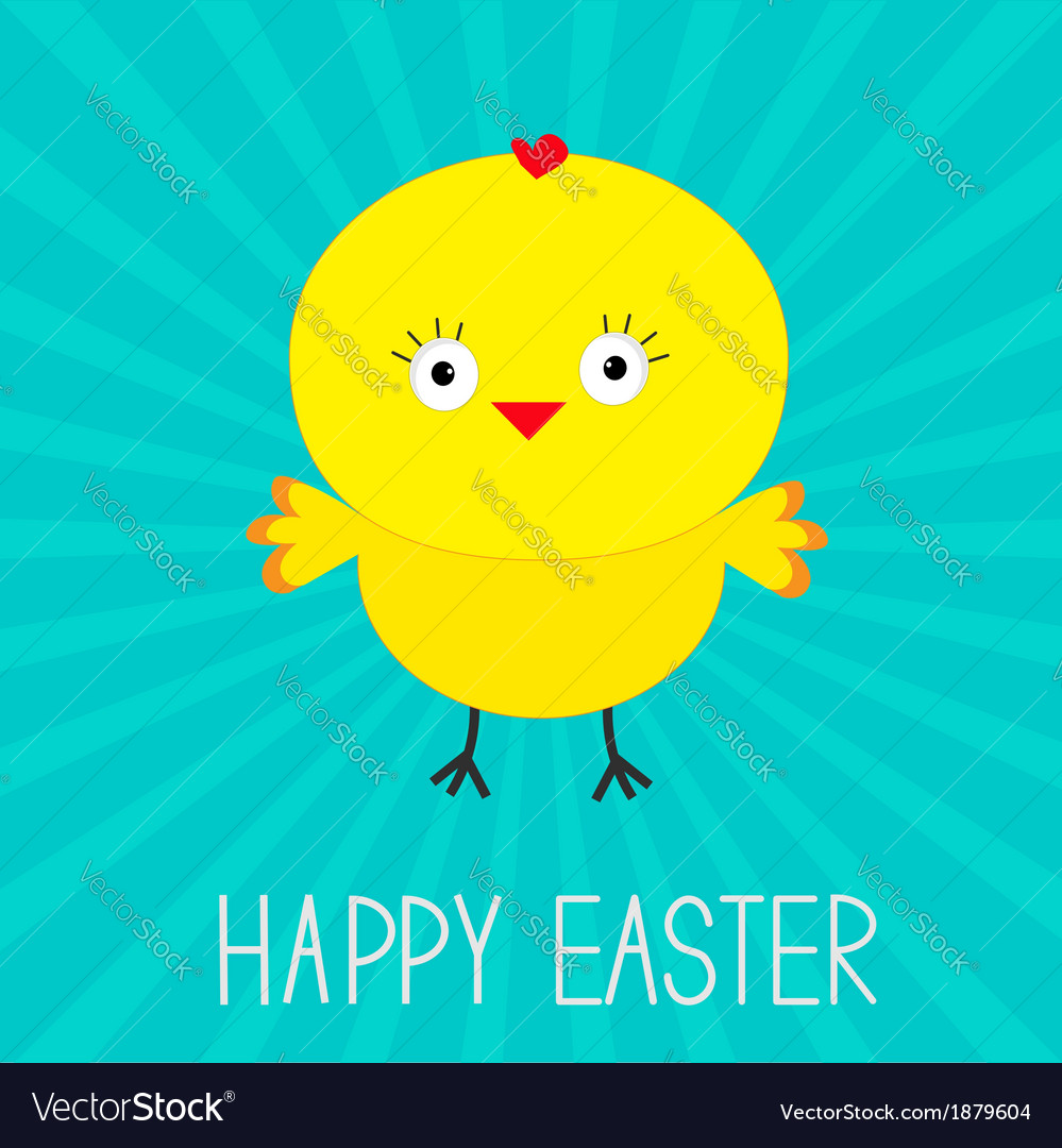 Easter chicken sunburst card vector | Price: 1 Credit (USD $1)