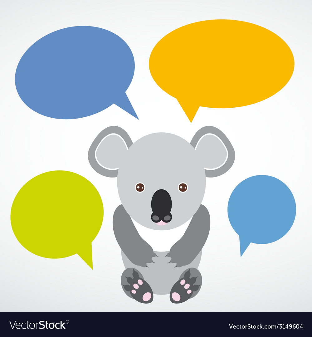 Funny koala with colored speech bubbles on white vector | Price: 1 Credit (USD $1)