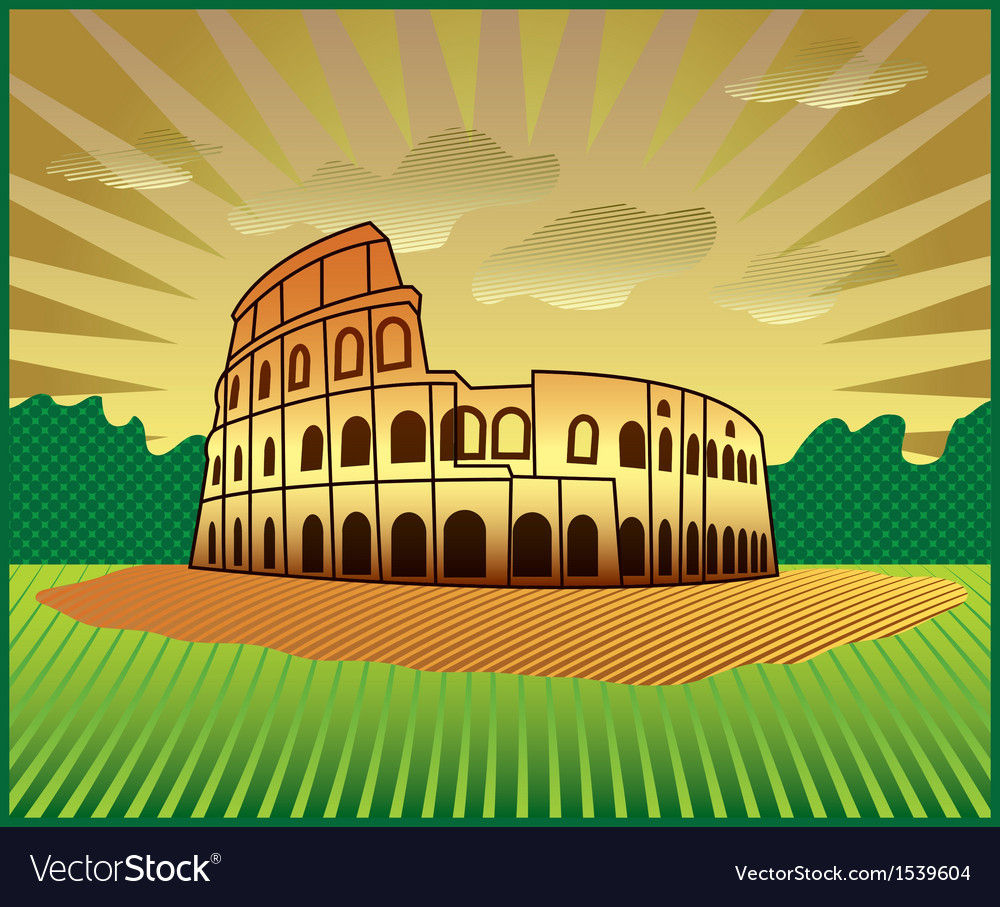 Landscape with roman colosseum vector | Price: 3 Credit (USD $3)