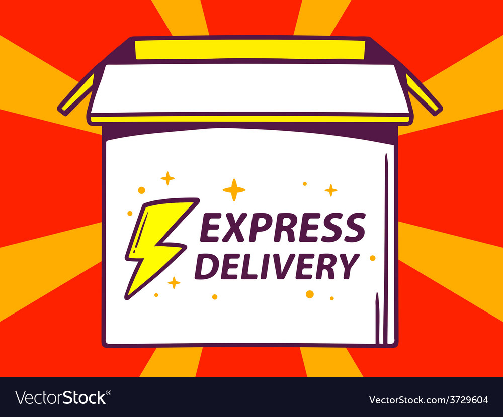Open box with icon of express delivery o vector | Price: 1 Credit (USD $1)