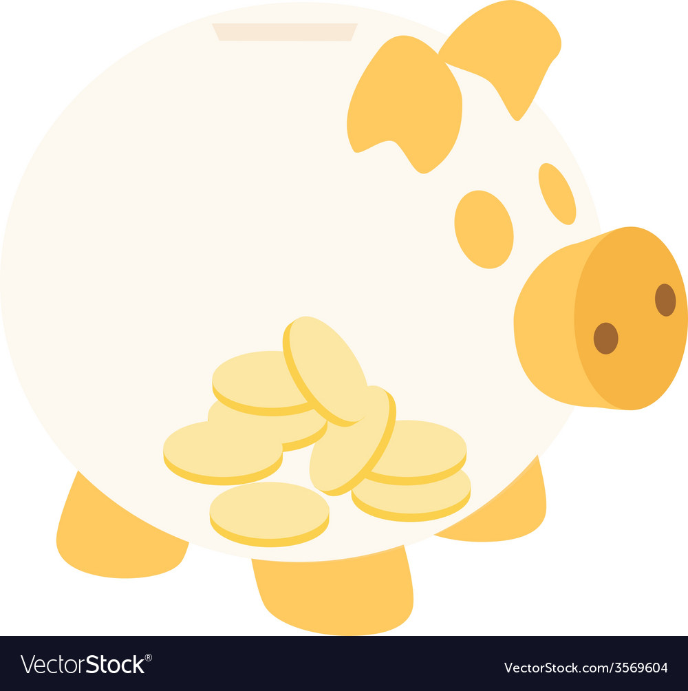 Orange piggy bank with coins vector | Price: 1 Credit (USD $1)