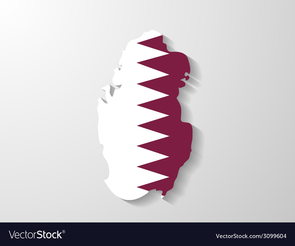 Qatar flag map with shadow effect vector | Price: 1 Credit (USD $1)