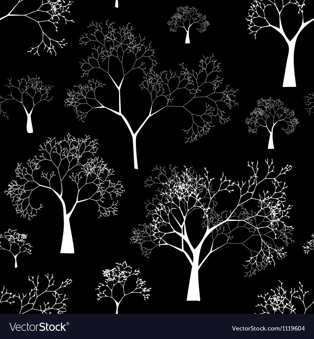 Seamless pattern of tree silhouettes vector | Price: 1 Credit (USD $1)