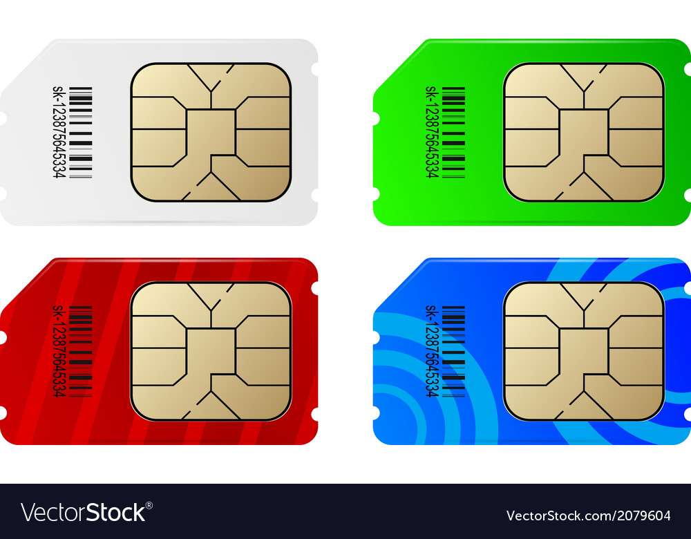 Set of color sim cards vector | Price: 1 Credit (USD $1)