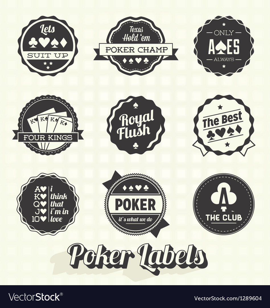 Vintage poker labels vector | Price: 1 Credit (USD $1)