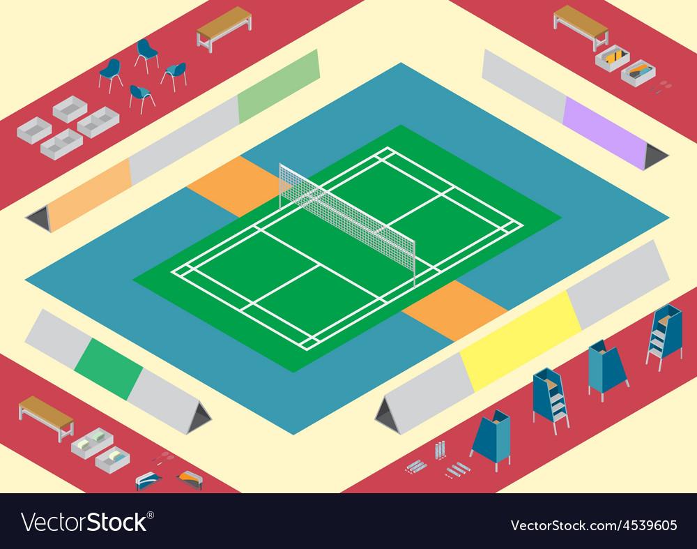 Badminton court stuffs vector | Price: 1 Credit (USD $1)
