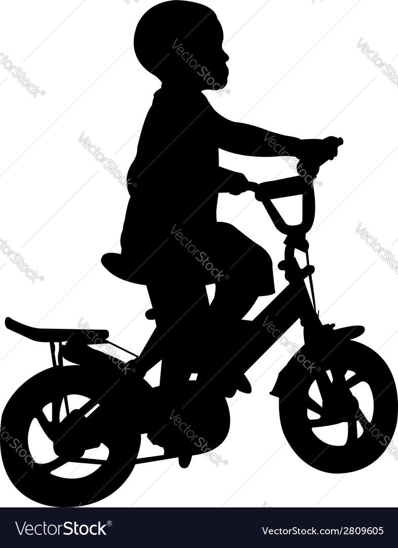 Boy riding bicycle vector | Price: 1 Credit (USD $1)