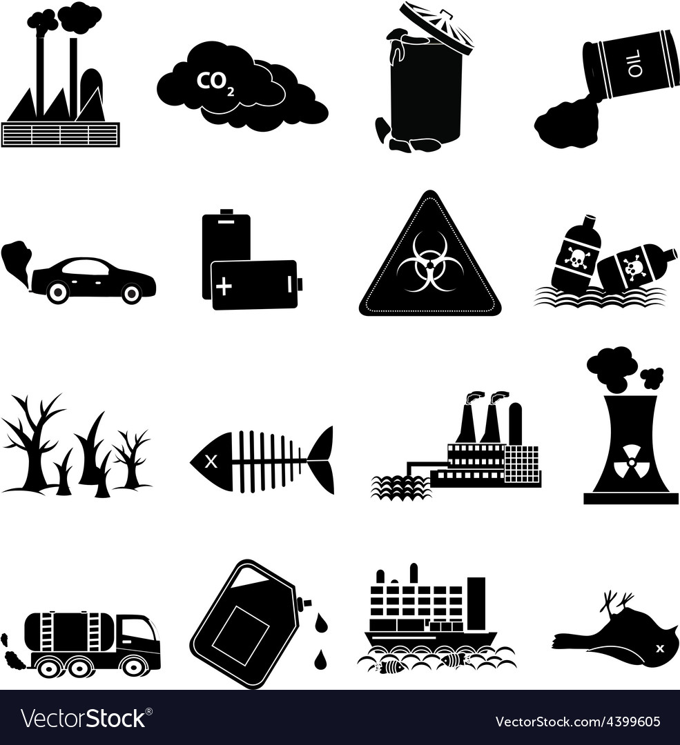 Environment pollution icons set vector | Price: 3 Credit (USD $3)