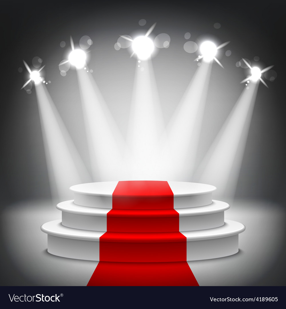 Illuminated stage podium red carpet award ceremony vector | Price: 1 Credit (USD $1)