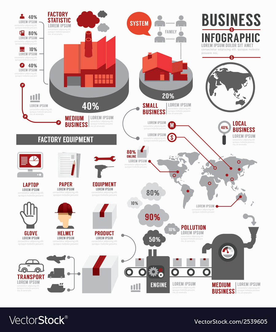 Infographic business world industry factory vector | Price: 1 Credit (USD $1)