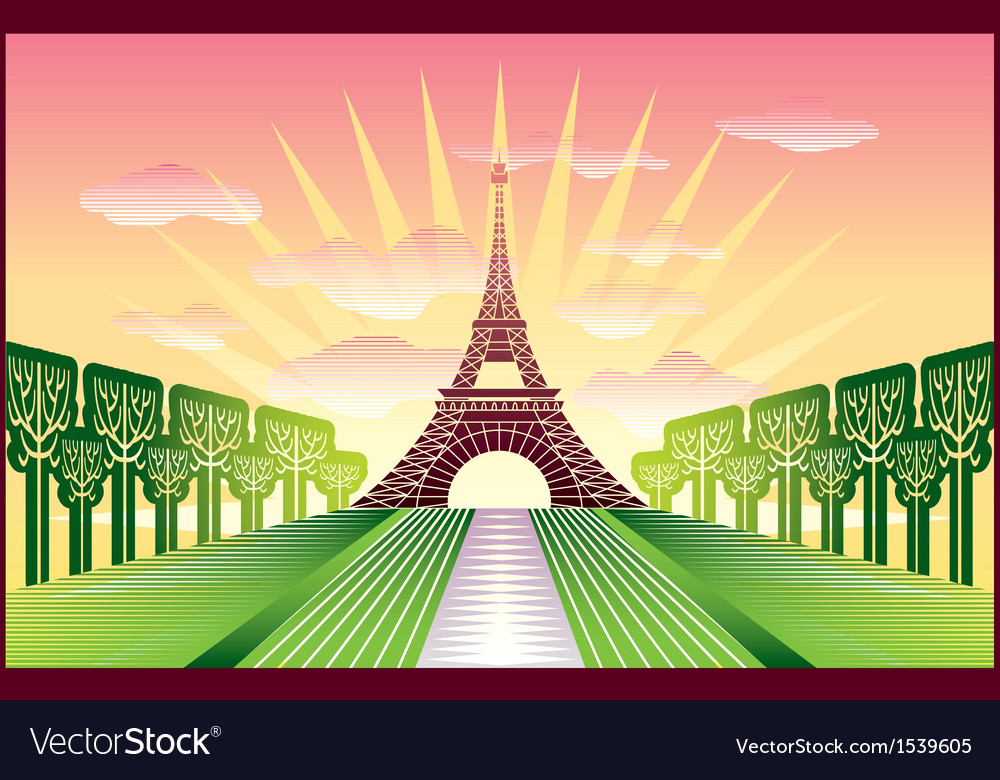 Landscape with paris eiffel tower vector | Price: 3 Credit (USD $3)
