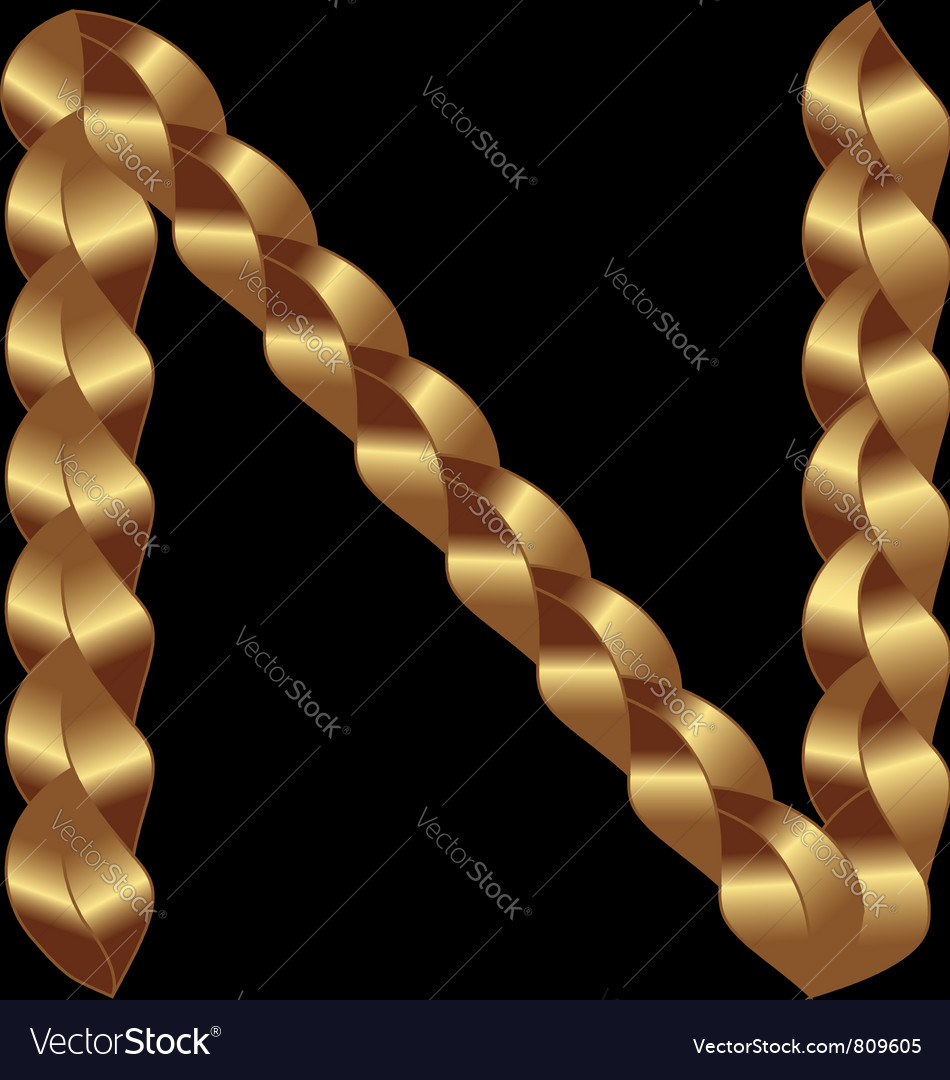 N gold string letter vector | Price: 1 Credit (USD $1)