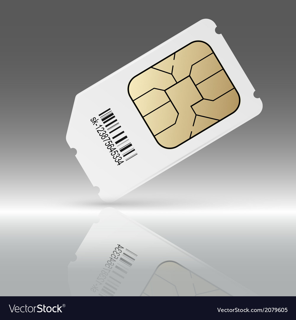 Phone sim card with reflection vector | Price: 1 Credit (USD $1)