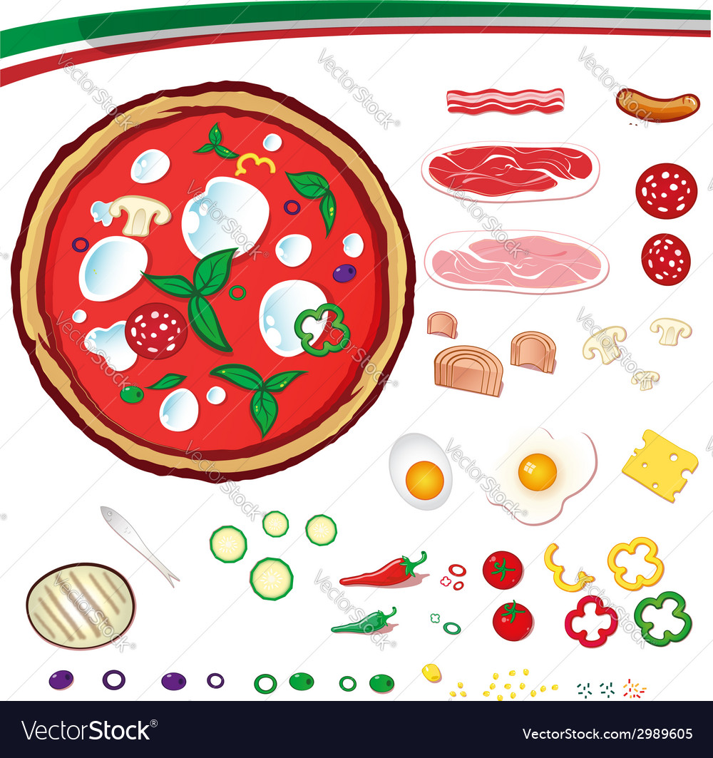 Pizza design elements vector | Price: 1 Credit (USD $1)