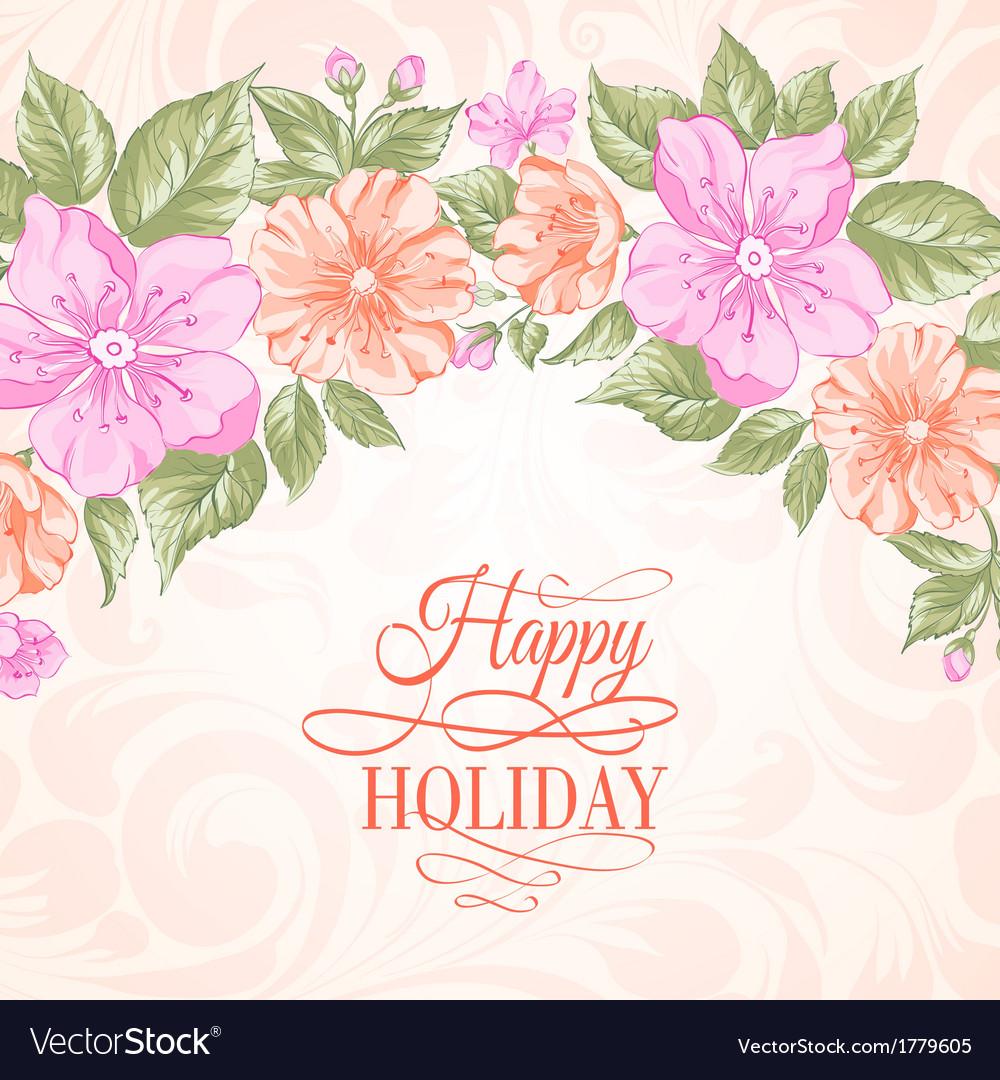 Sakura holiday invitation card vector | Price: 1 Credit (USD $1)