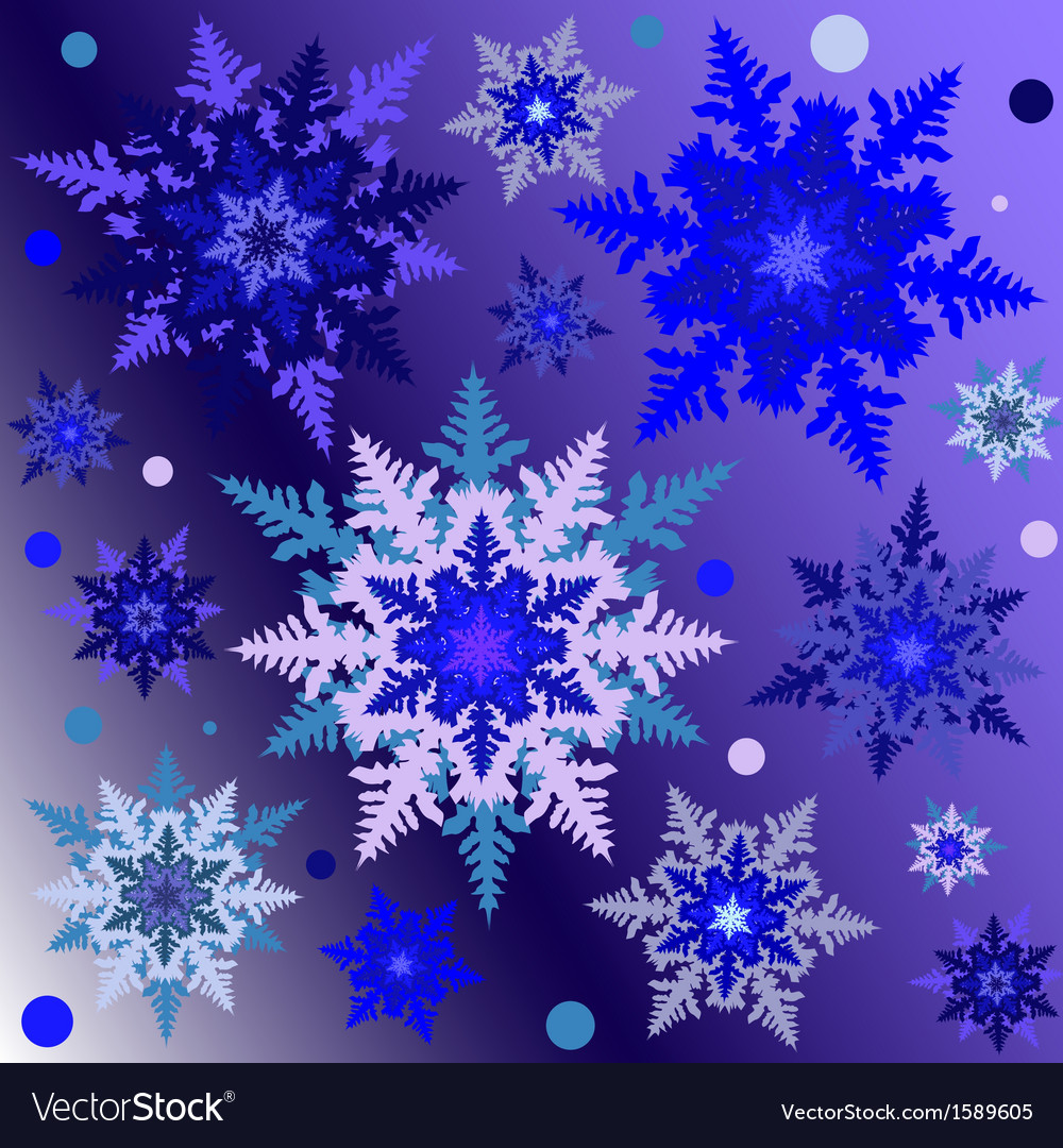 Snowflakes on the gradient square background vector | Price: 1 Credit (USD $1)