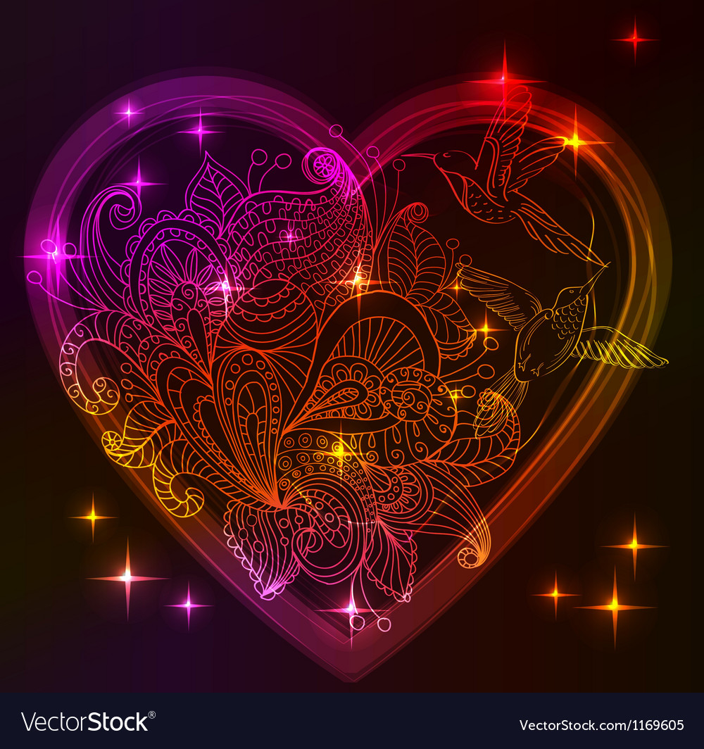 Valentine bright heart with floral ornament vector | Price: 1 Credit (USD $1)