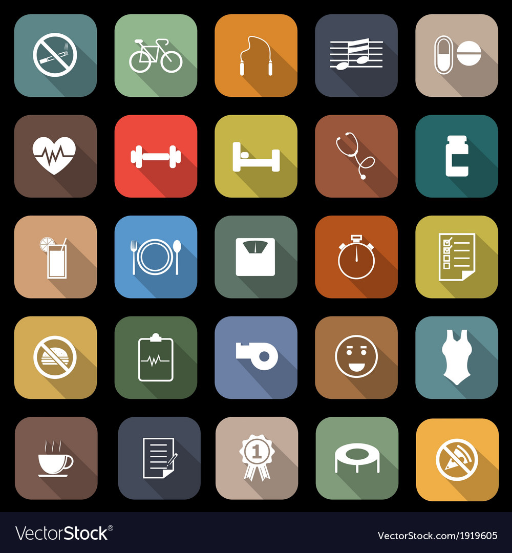Wellness flat icons with long shadow vector | Price: 1 Credit (USD $1)
