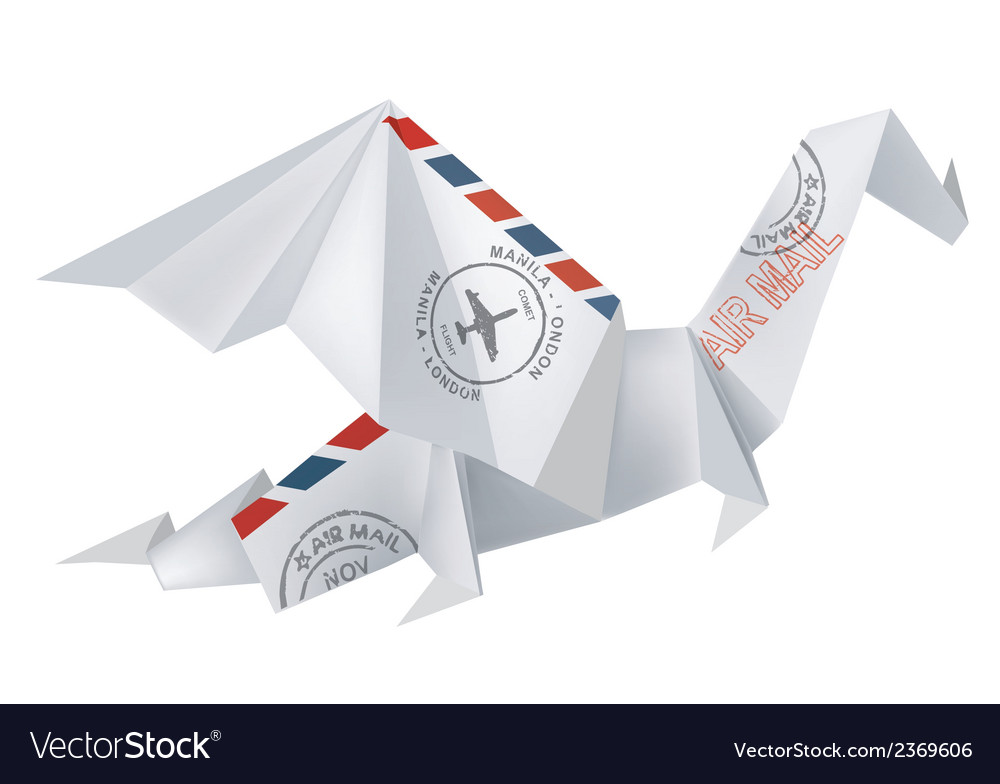 Air mail origami dragon vector | Price: 1 Credit (USD $1)