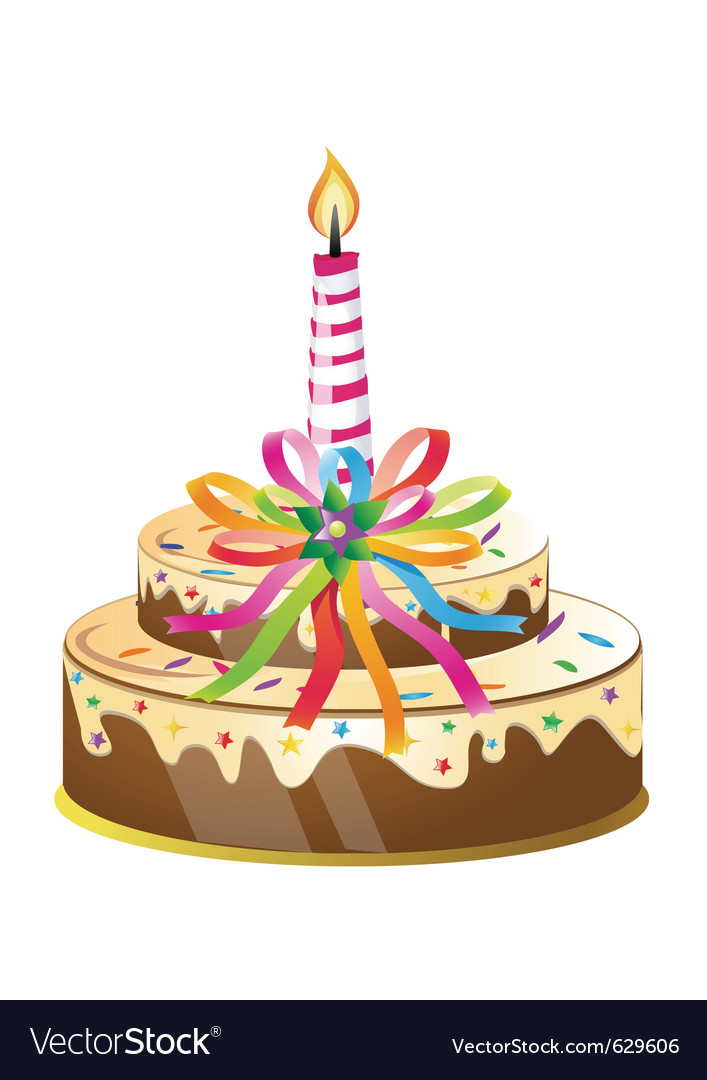 Birthday cake and candle vector | Price: 3 Credit (USD $3)