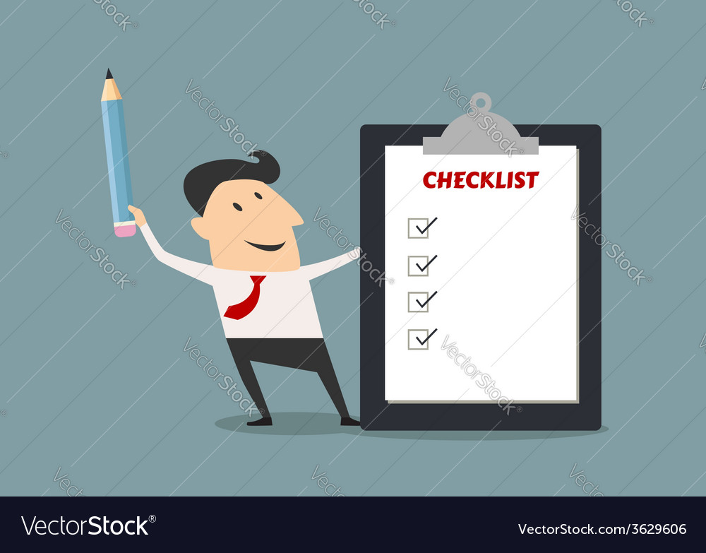 Businessman holding checklist board and pencil vector | Price: 1 Credit (USD $1)