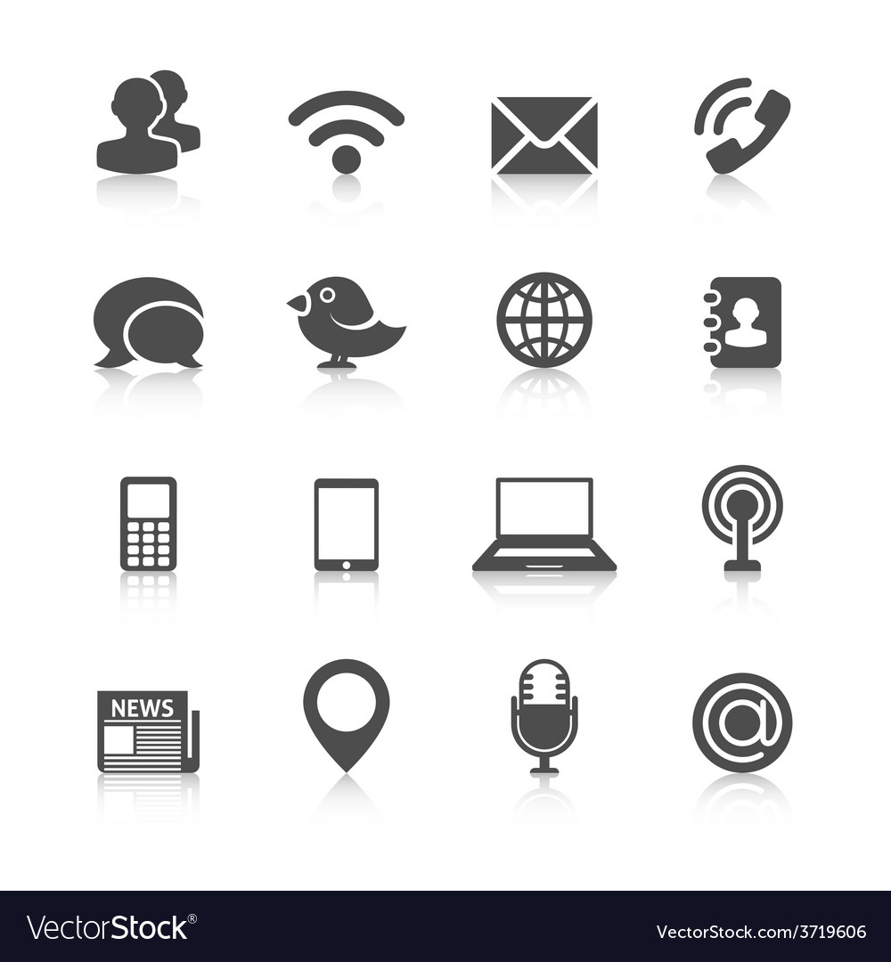 Communication icons with reflection vector | Price: 1 Credit (USD $1)
