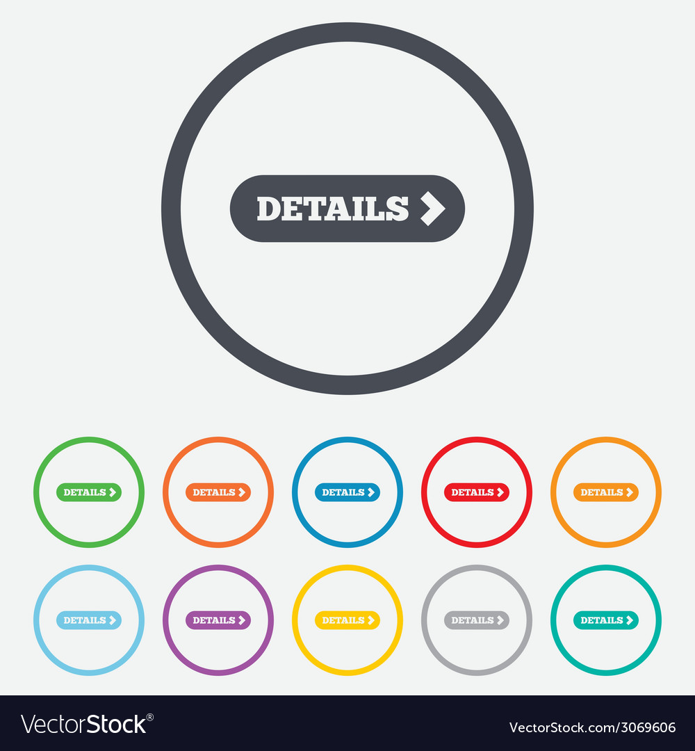 Details with arrow sign icon more symbol vector | Price: 1 Credit (USD $1)