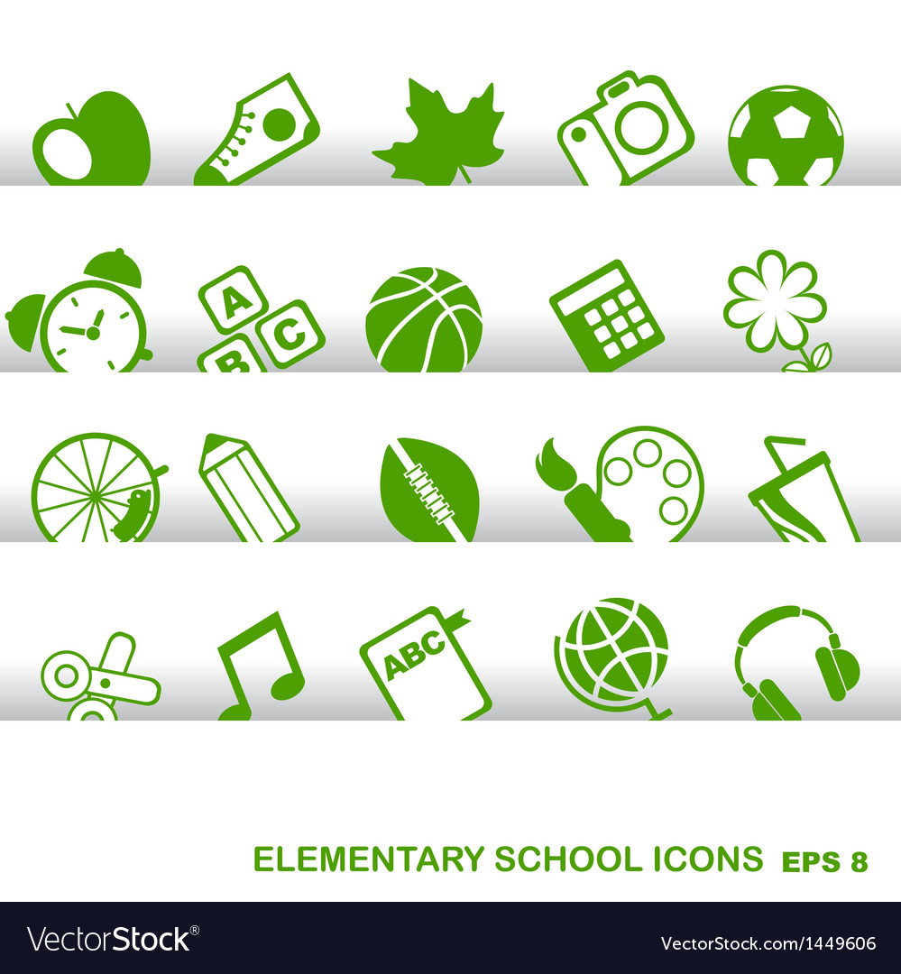 Education icons basics elementary school vector | Price: 1 Credit (USD $1)