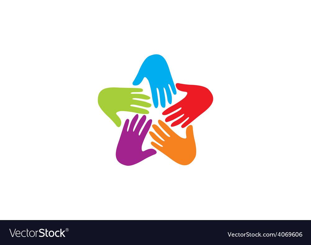 Hands circle teamwork logo vector