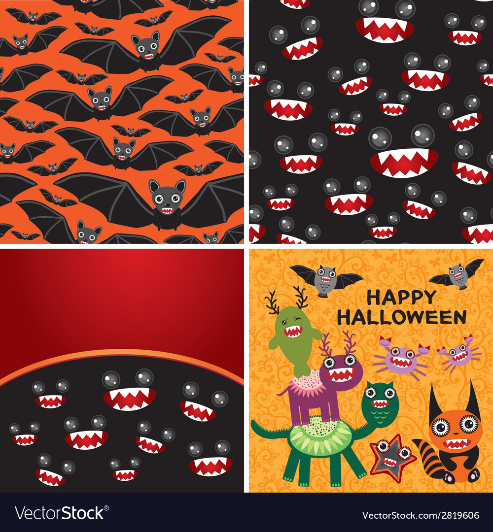 Happy halloween set of two seamless patterns and vector | Price: 1 Credit (USD $1)