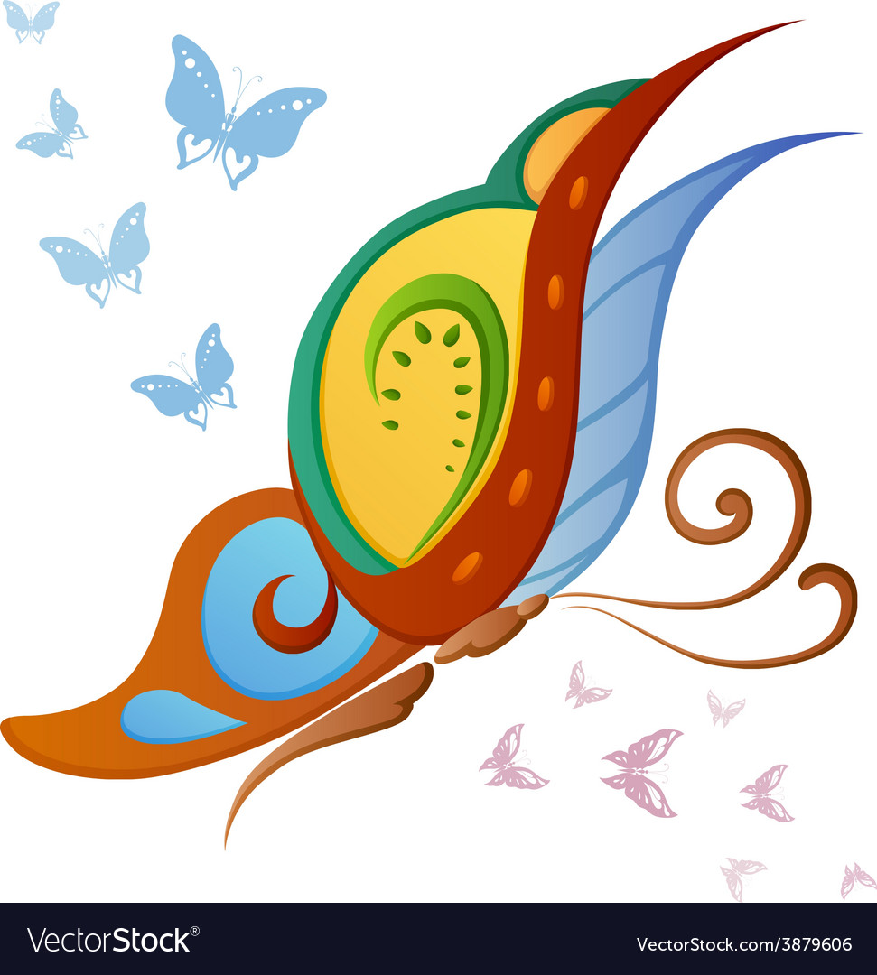 Ornamented abstract colorful butterfly vector | Price: 1 Credit (USD $1)