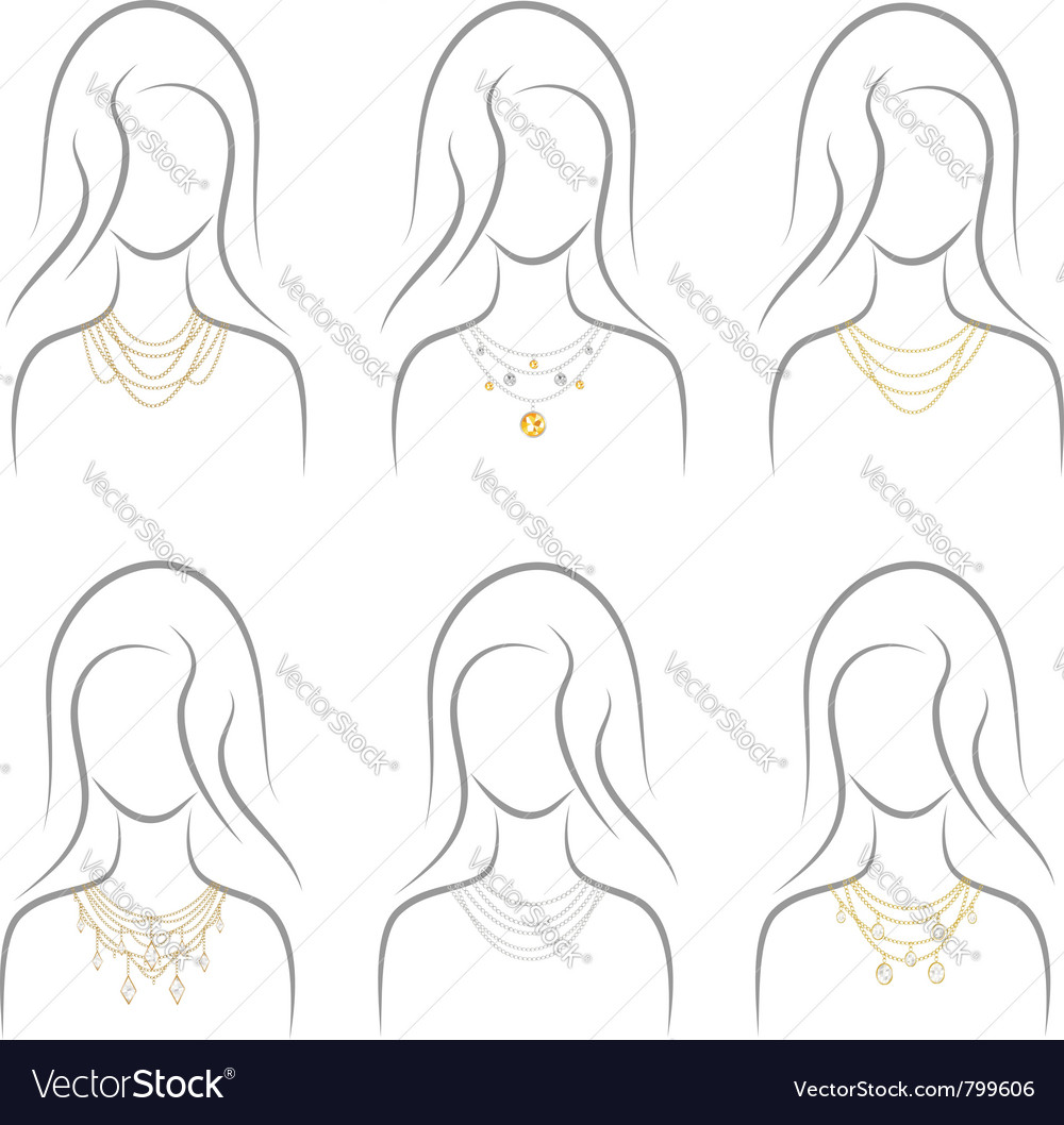 Precious necklace set vector | Price: 1 Credit (USD $1)