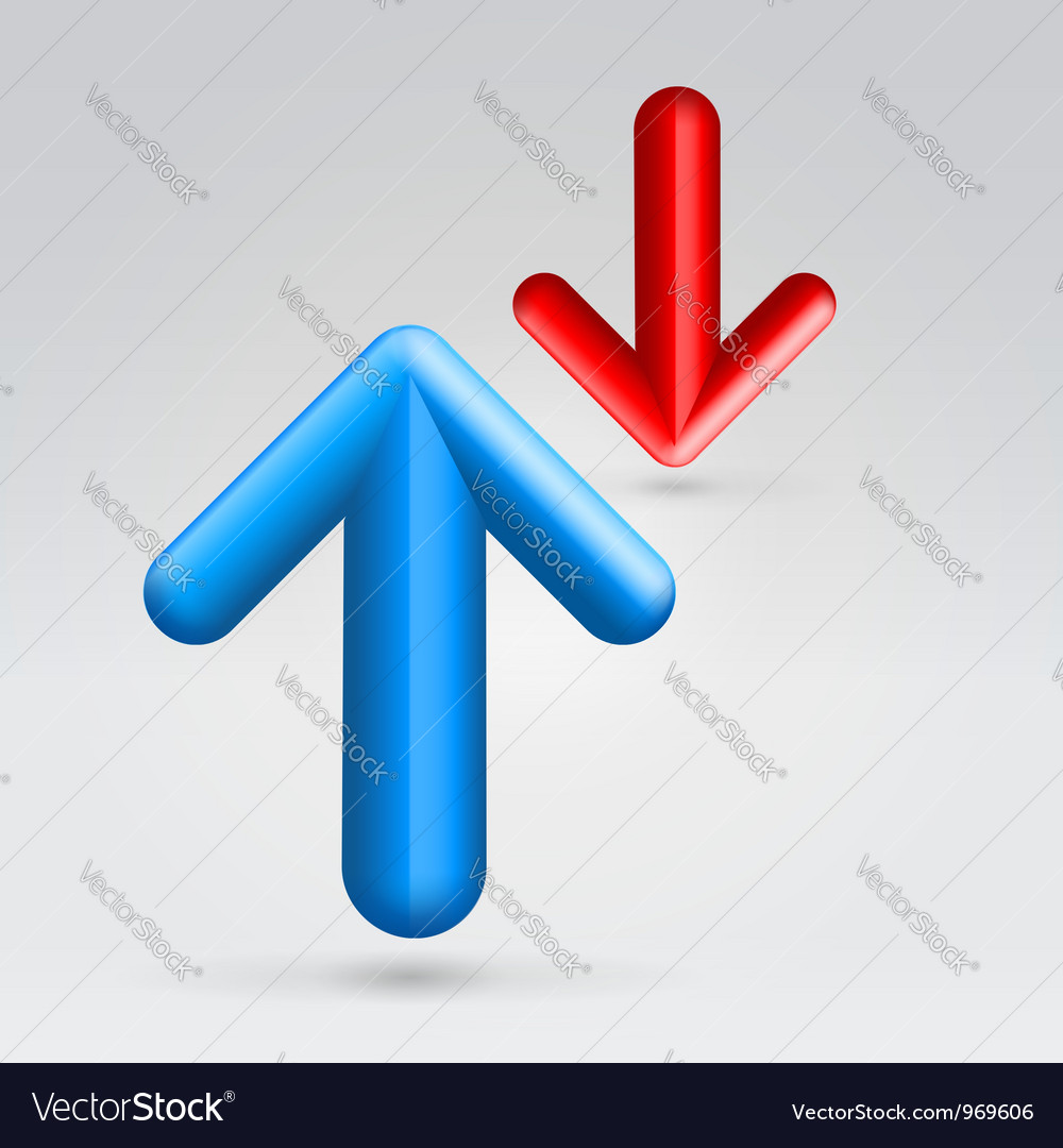 Red blue arrows opposition vector | Price: 1 Credit (USD $1)