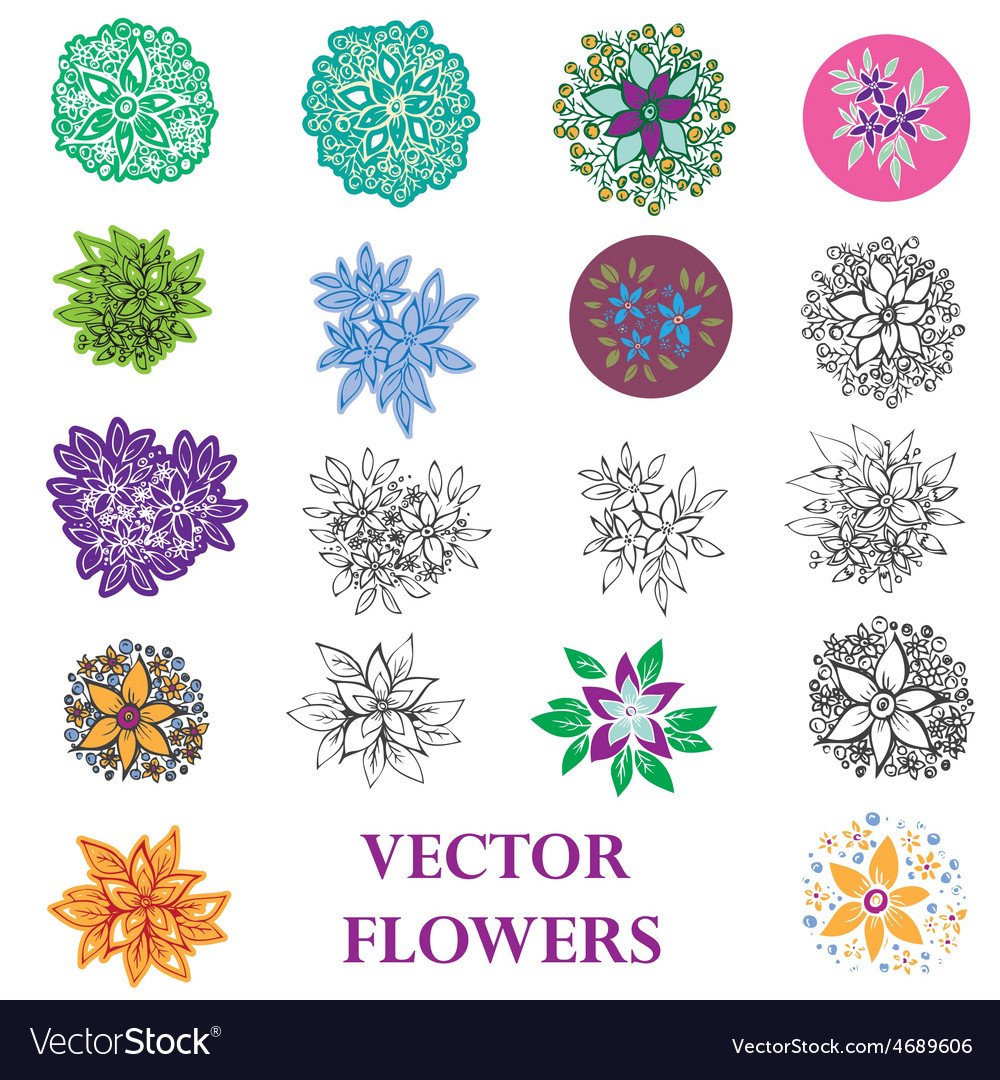 Set of design of flowers vector | Price: 1 Credit (USD $1)