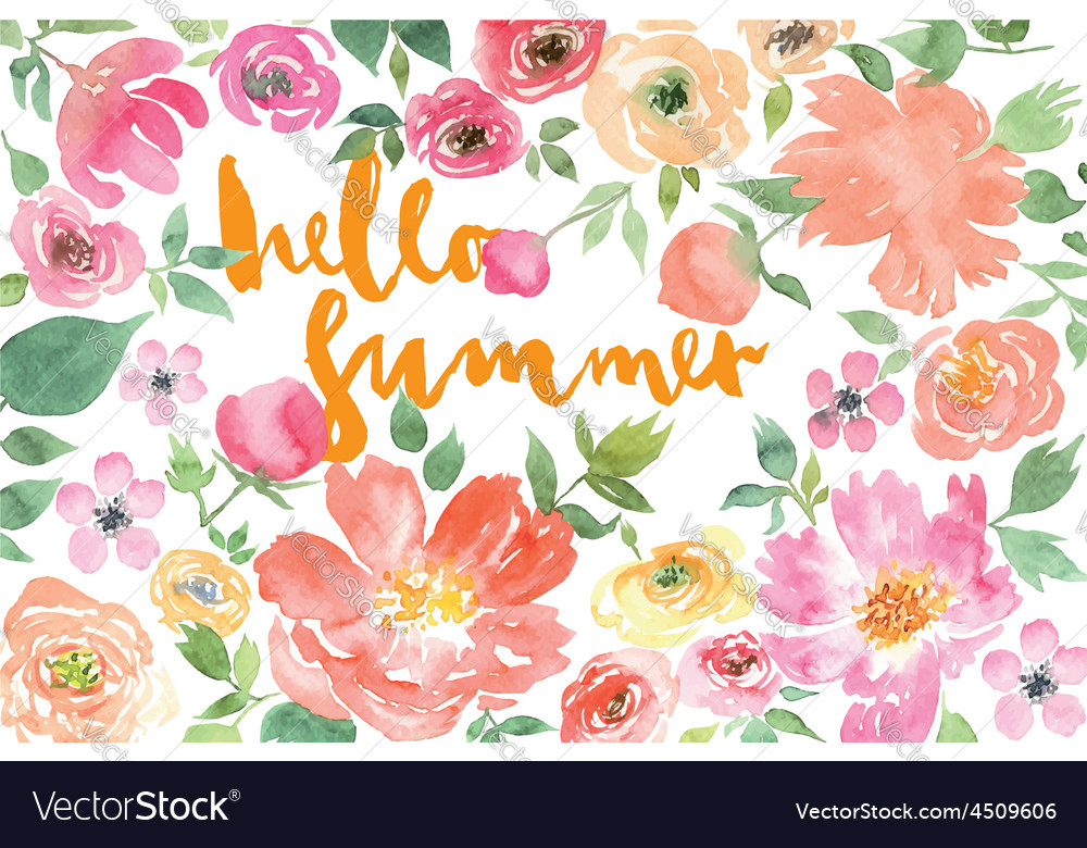 Watercolor flower summer vector
