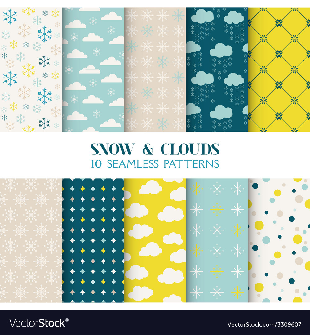 10 seamless patterns - snow and clouds vector | Price: 1 Credit (USD $1)