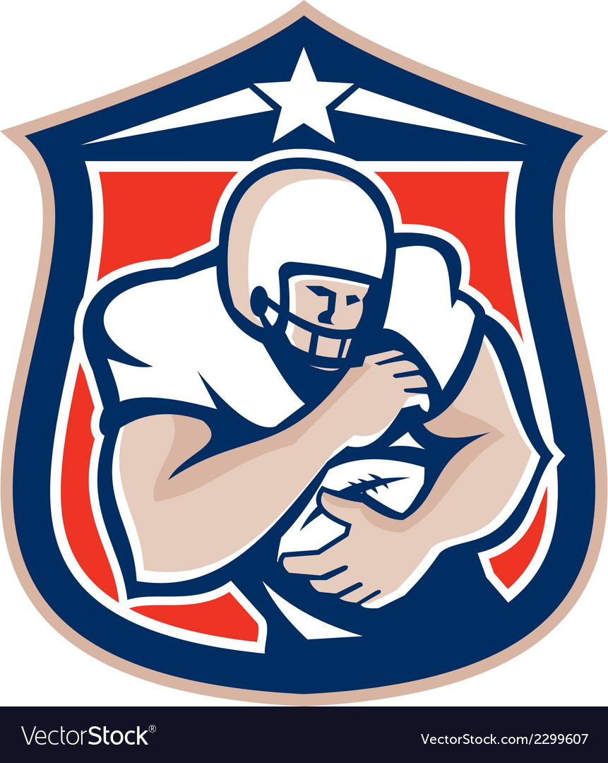 American football holding ball shield retro vector | Price: 1 Credit (USD $1)