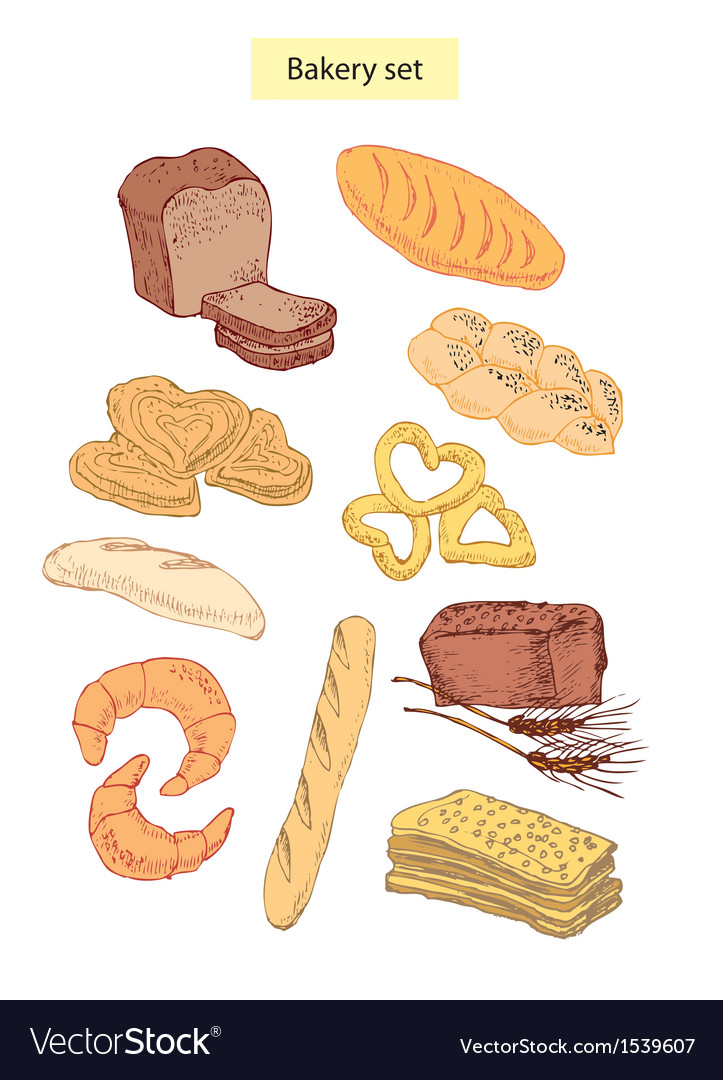 Bakery food set vector | Price: 1 Credit (USD $1)