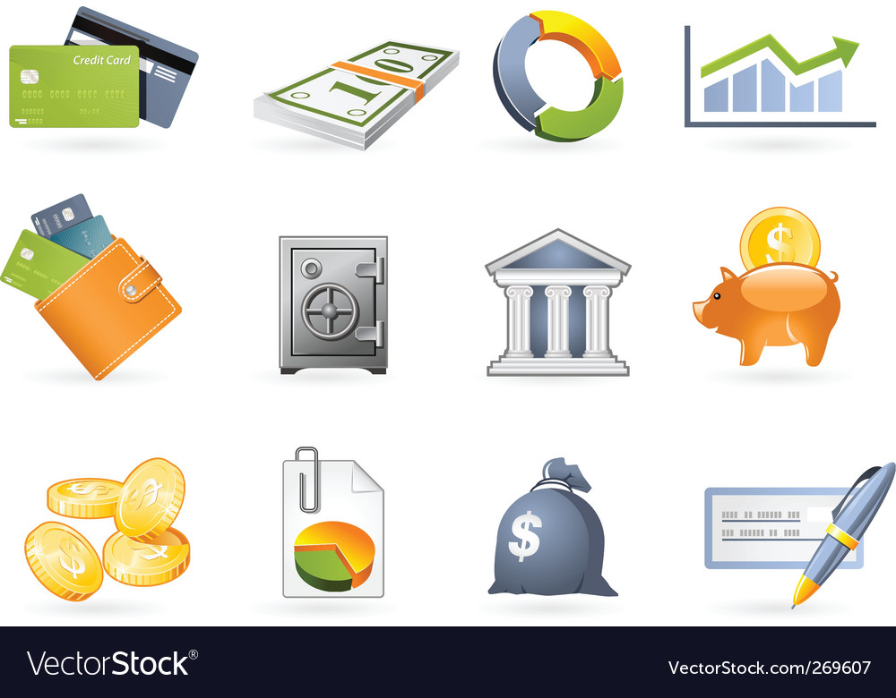 Banking and finance icon set vector | Price: 3 Credit (USD $3)