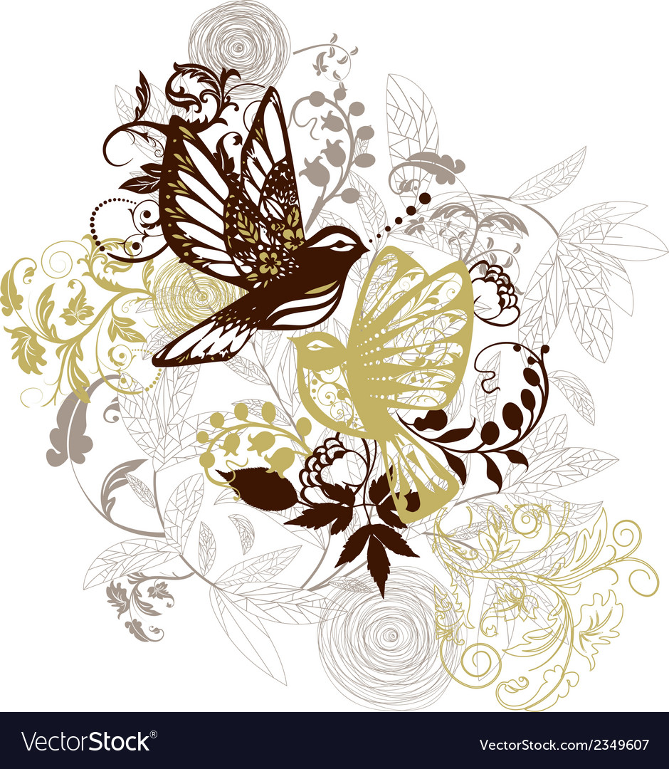Birds and flowers background vector