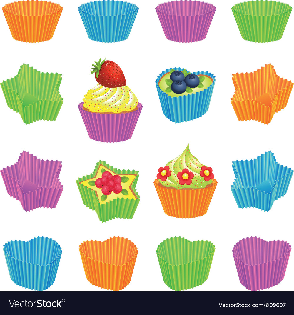 Cupcakes and colourful baking cups vector | Price: 1 Credit (USD $1)
