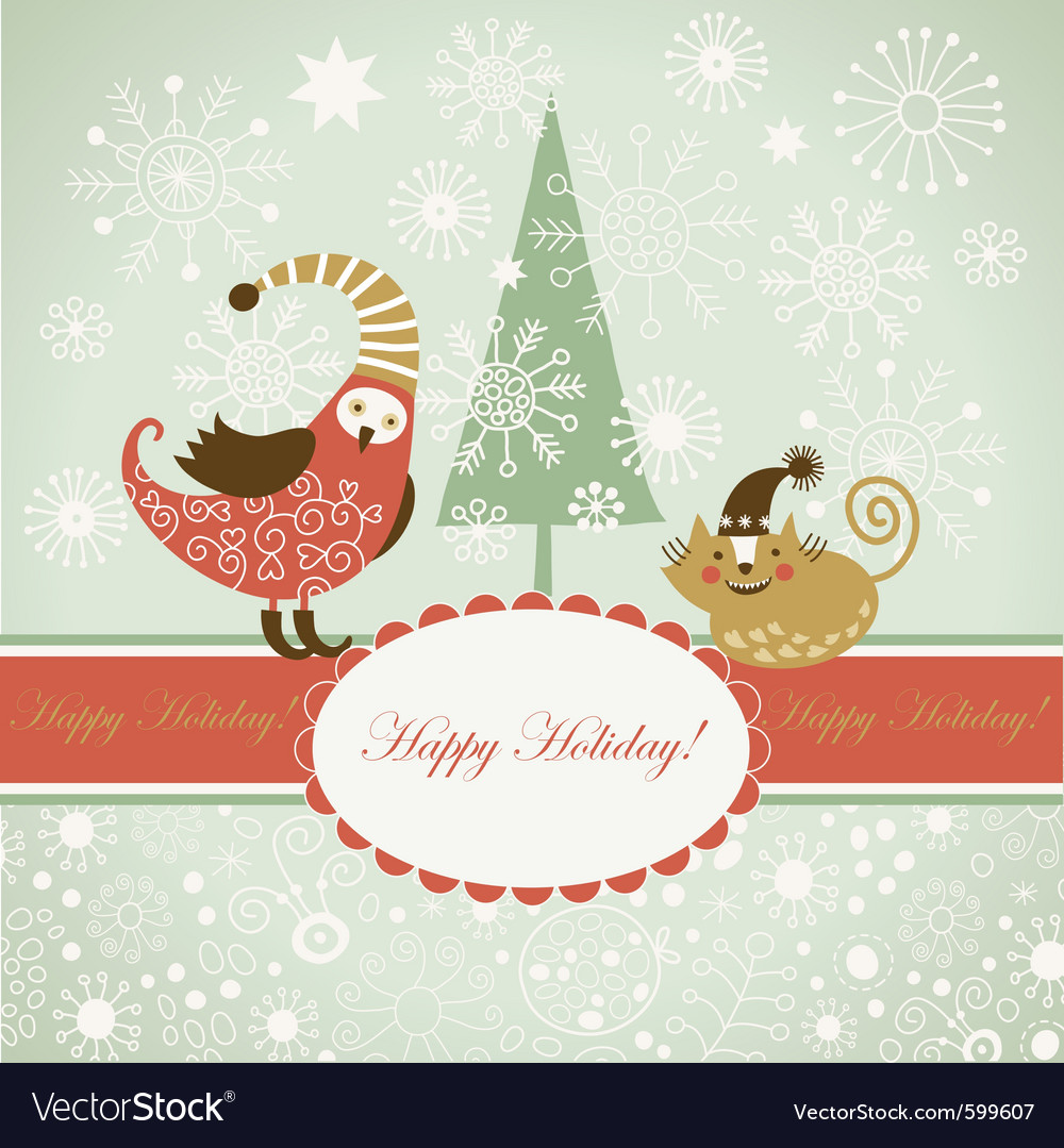 Funny bird and cat for greeting card vector | Price: 1 Credit (USD $1)