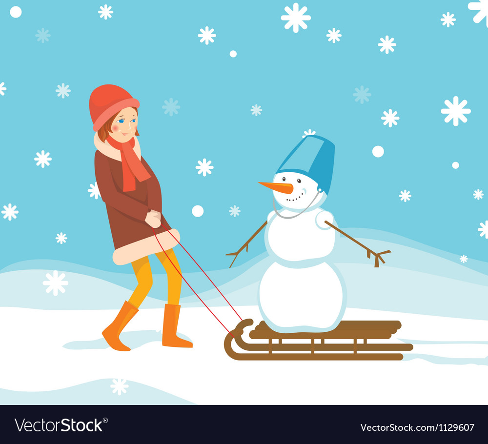 Girl and snowman on the sled vector | Price: 1 Credit (USD $1)